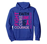 Pink Ribbon Breast Cancer Fighters Survivors Awareness Shirt T Shirt Hoodie Royal Blue