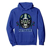 Seattle Football Helmet Sugar Skull Day Of The Dead T Shirt Hoodie Royal Blue