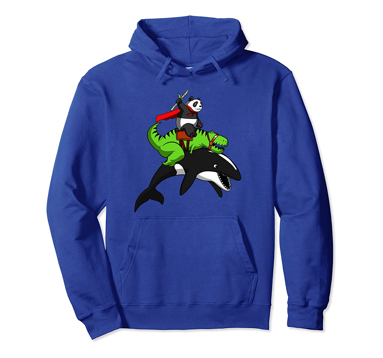 Panda Bear T-Rex Dinosaur Riding Orca Whale Ocean Funny Kids Pullover Hoodie-ANZ