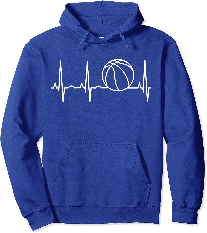 Basketball Hoodie - Basketball Heartbeat Hooded Sweatshirt Pullover Hoodie-TH