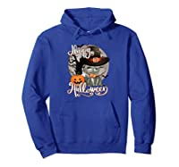 Happy Halloween Cute Cat In Witch Hat Pumpkin Spooky Novelty Shirts Hoodie Royal Blue