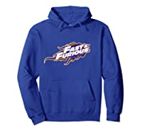Fast Furious Purple And Orange Flames Logo Pullover Shirts Hoodie Royal Blue