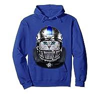 Cute Tabby Cat As American Football Player T-shirt Hoodie Royal Blue