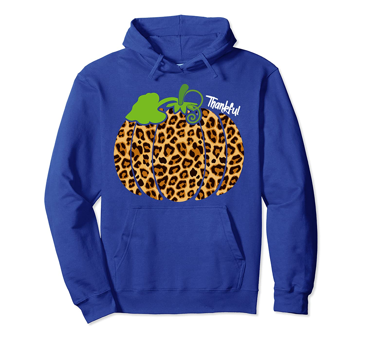Cool Thankful Funny Leopard Print Pumpkin Thanksgiving Gift Pullover Hoodie