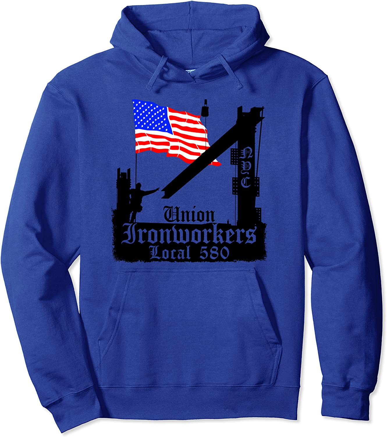 Union favorite Dedication Ironworkers Local 580 NYC Hoodie Pullover Flag American