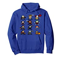 Friends Pixel Halloween Icons Scary Horror Movies Pullover Shirts Hoodie Royal Blue