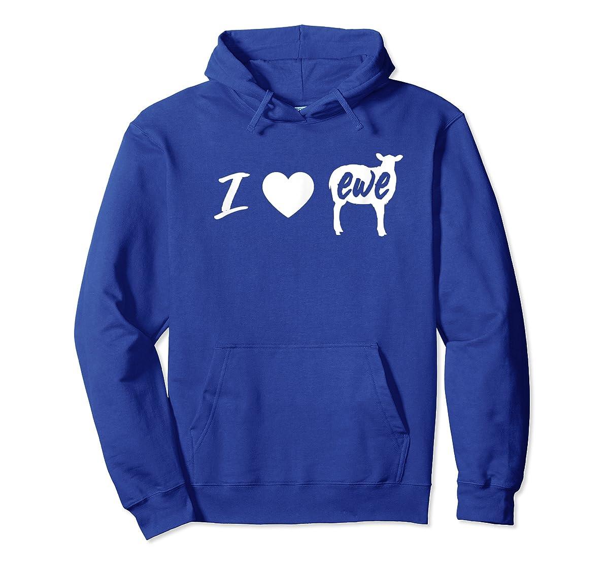 I Love Ewe - I Love You Sheep Pun Shirt-Hoodie-Royal