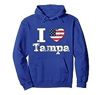 I Heart Love Tampa Patriotic Distressed Vintage T Shirt Hoodie Royal Blue