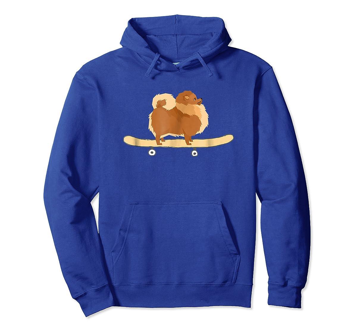 Funny Skateboarding Pomeranian Pom Puppy T-Shirt Gift-Hoodie-Royal