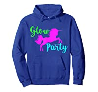 Colorful Glow Party 90's Unicorn Disco Style Dance Shirts Hoodie Royal Blue