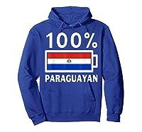 Paraguay Flag T Shirt 100 Paraguayan Battery Power Tee Hoodie Royal Blue