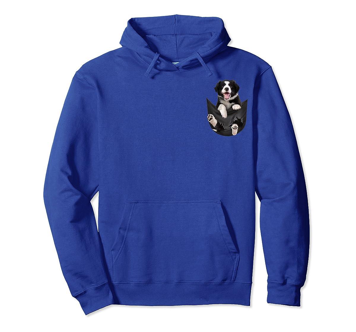 Gift dog funny cute shirt - Border Collie in pocket shirt T-Shirt-Hoodie-Royal