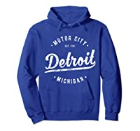 Retro Vintage Detroit Michigan Motor City T Shirt Souvenir Hoodie Royal Blue