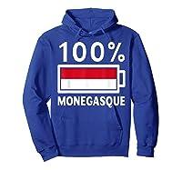 Monaco Flag T Shirt 100 Monegasque Battery Power Tee Hoodie Royal Blue