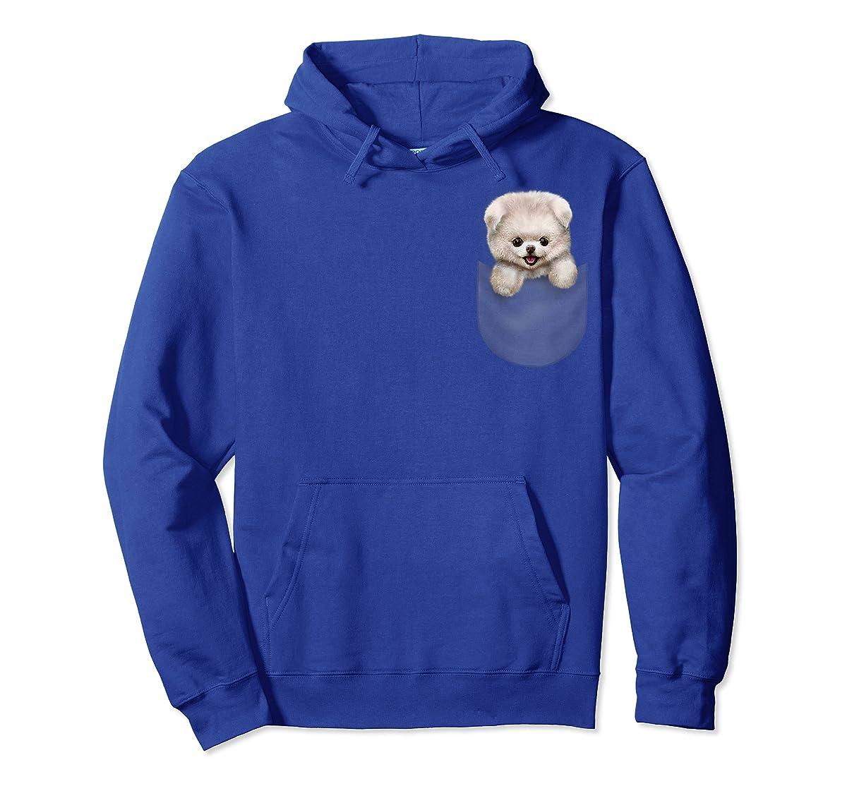 T-Shirt, Cute White Fluffy Pomeranian Puppy in Pocket, Dog-Hoodie-Royal