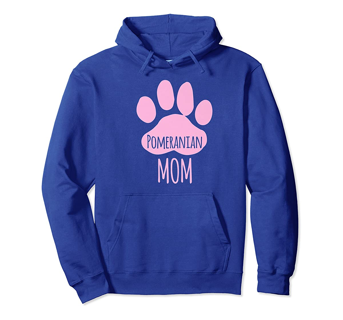 Cute Pomeranian Mom T Shirt for Pom Owner Dog Paw Pink-Hoodie-Royal