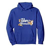 I'm A Simple Woman Coffee Pizza Doxie Dachshund Dog T-shirt Hoodie Royal Blue