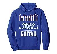 Patriot Guitarist T Shirt America Flag Guitar Hoodie Royal Blue