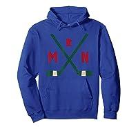 Vintage Minnesota Hockey Sticks State Outline T Shirt Hoodie Royal Blue