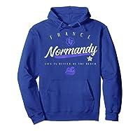 Normandy France Beach T Shirt Hoodie Royal Blue