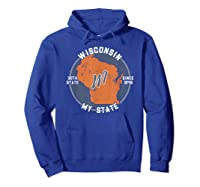 Wisconsin State Tourist Gift Shirts Hoodie Royal Blue