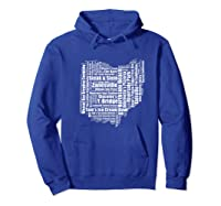 Zanesville Hometown Ohio State Shaped Wordcloud Shirts Hoodie Royal Blue
