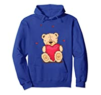 Adorable Teddy Bear Give You Love   Valentine Day T-shirts. Hoodie Royal Blue