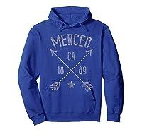 Merced Ca T Shirt Distressed Boho Style Home City Hoodie Royal Blue