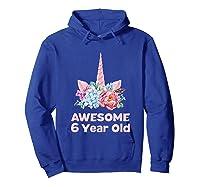 6th Birthday Unicorn Girls Age 6 Year Oid Niece Gifts Shirts Hoodie Royal Blue