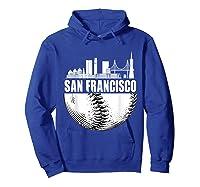 San Francisco Skyline City Baseball T Shirt Souvenir Skyline Hoodie Royal Blue