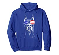 Doberman Sunglasses American Flag Funny 4th Of July T-shirt Hoodie Royal Blue