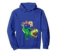 George Washington Riding T Rex Dinosaur 4th Of July Trex Shirts Hoodie Royal Blue