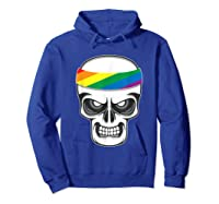 Funny Lbgt Gay Pride Rainbow Flag Skull Cool Art Gifts Shirts Hoodie Royal Blue
