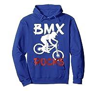 Bmx Riding Rocks T Shirt Cool Dirt Bike Race Stunt Gift Tees Hoodie Royal Blue