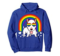 Bull Terrier Dog Gay Pride Rainbow Q Cute Gift Shirts Hoodie Royal Blue