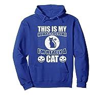 Halloween Cat Costume, This Is My Human Costume Retro Shirts Hoodie Royal Blue