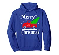 Merry Christmas Old Vintage Red Truck With Christmas Tree Shirts Hoodie Royal Blue