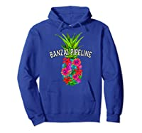 Banzai Pipeline Tropical Pineapple Flower Vacation T-shirt Hoodie Royal Blue