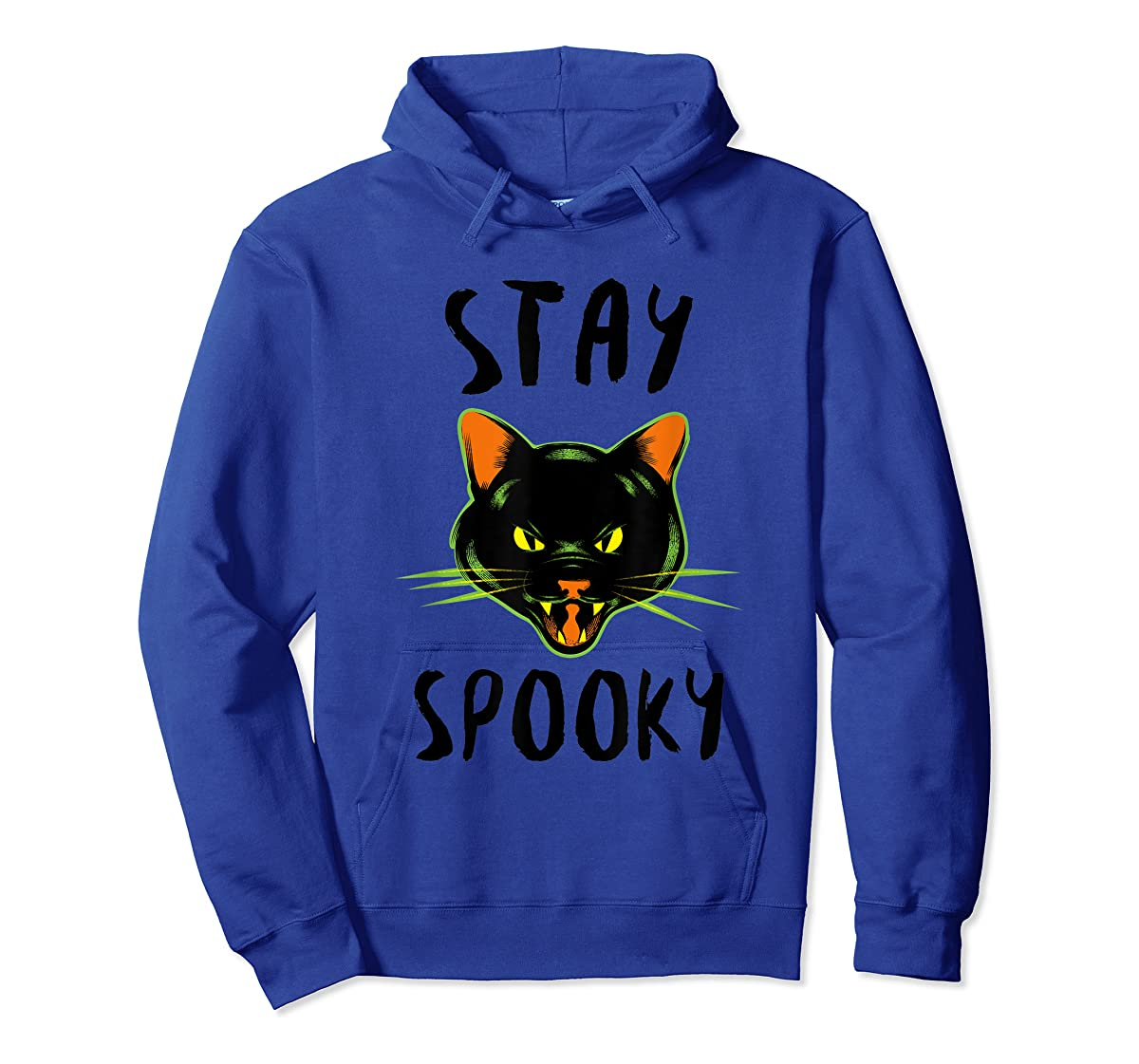 Stay Spooky | Scary Halloween Black Cat T-Shirt-Hoodie-Royal