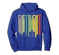 Retro Detroit Vintage Detroit Skyline Shirts Hoodie Royal Blue