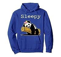 Sleepy Panda Shirt For Girls Cute Panda Flowers Lazy Relaxed Hoodie Royal Blue