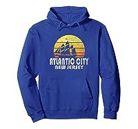 Retro Atlantic City Nj Beach Vacation T Shirt Hoodie Royal Blue