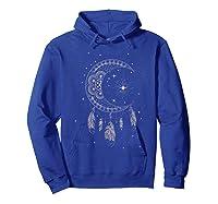 Dream Cat Moon & Stars Boho Graphic T-shirt Hoodie Royal Blue