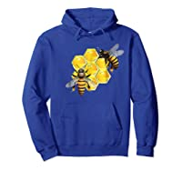 Honeycomb Pattern With Two Bees Drawing Shirts Hoodie Royal Blue