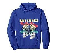 Save The Bees Vintage Retro Beekeeping Beekeeper Gift Shirts Hoodie Royal Blue