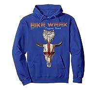 Bike Week Bull Head Skull Motorcycle T Shirt Hoodie Royal Blue