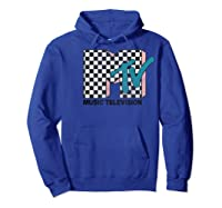 Mtv Checkered Logo Pink Shadow Turquoise Tv Graphic T-shirt Hoodie Royal Blue