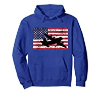 Patriotic C-130 Hercules Airplane American Flag T-shirt Hoodie Royal Blue