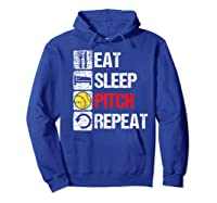 Eat Sleep Pitch Repeat Softball Player Pit Coach Premium T-shirt Hoodie Royal Blue