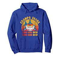 Retro Vintage Style Grampa Shark Gift For Father Dad Shirts Hoodie Royal Blue